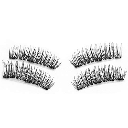 TOOGOO 1 paire/4pcs Faux cils magnetiques longs a trois aimants 3D naturels Maquillage doux pour les yeux Extension de cils Outils de maquillage 24P-3