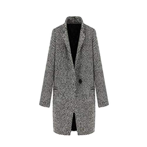 JEELINBORE Womens Winter Wool Blend Trench Coat Outerwear Vintage Plaid Overcoat Long Parka Jacket (Black White, CN S) Wool Blend Trench