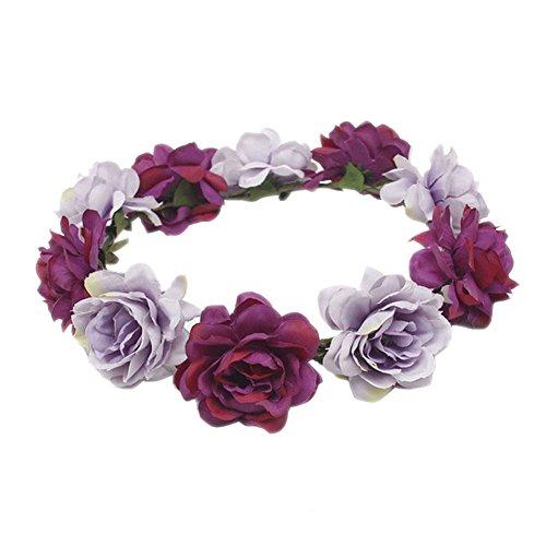 Blue Vessel Mode Frauen Hochzeit Haar Blumengirlande Krönen Stirnband Blumenkranz Haarband (lila)