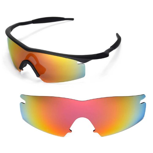 Walleva Ersatzgläser für Oakley M Frame Strike Sonnenbrille - Mehrfache Optionen (Feuer Red Mirror Coated - Polarisiert)