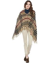 Cayman Dark-Beige & Black Reversible Acrylic Wool Poncho Sweater