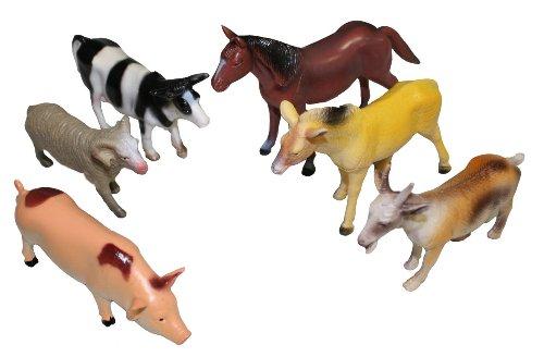 Idena 4329902 Spielfigurenset mit 6 Farmtieren, aus Kunststoff, frei von BPA und Phthalaten, je ca. 15 cm
