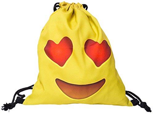 Turnbeutel mit Herz Smilie Emoji Print, verschiedene Designs auswählbar Beutel Rucksack Jutebeutel Sportbeutel Tasche Tüte Rucksack Jutebeutel Sportbeutel Gym-bag