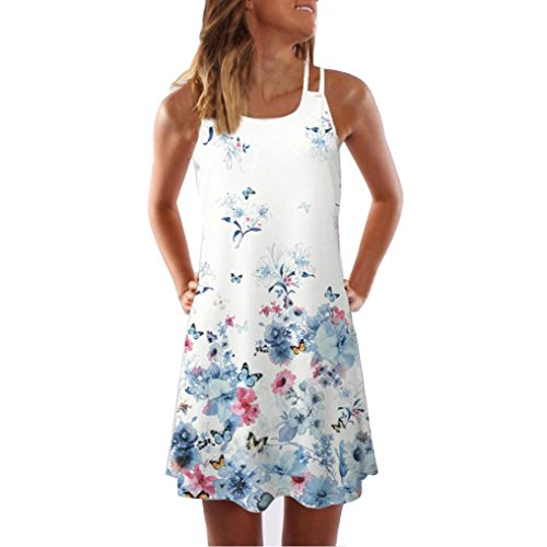 Kleid Damen,Binggong Frauen Lose Sommer Vintage ärmellose 3D Blumendruck Bohe Tank Short Mini Dress Sling Abendkleid Reizvoller Casual Rock Hot (S, Weiß 4)