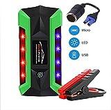 ZZKK Auto Jump Starter, caricabatteria da Auto 600A Portatile Starter Accendino Auto Starter Mobile Power Auto Caricabatterie 4USB con Luce LED,20000mAh