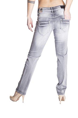 Blue Monkey Damen Skinny Jeans mit hohem Bund Kathrin 5161 Grey Grey