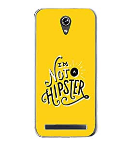 PrintVisa Designer Back Case Cover for Asus Zenfone Go ZC500TG (5 Inches) (Typography I am Not Hipster Yellow Background)