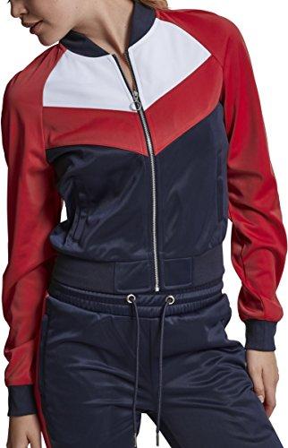 Urban Classics Damen Sweatjacke Ladies Short Raglan Track Jacket, Mehrfarbig (Navy/Fire Red/White 01224), X-Small Sports Track Jacket
