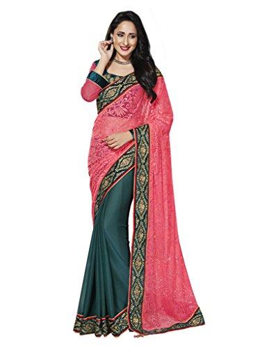Mahotsav Women's Net Brasso , Faux Chiffon Velvet , Net Sarees ( 9367 )  available at amazon for Rs.2070