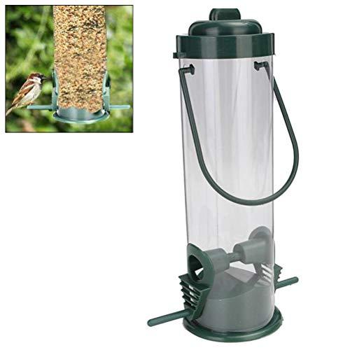 Comtervi Futterspender mit 2 Futterplätzen für Vögel, Meisenknödelhalter zum Aufhängen, Futterspender für Wildvögel, Futtersäule