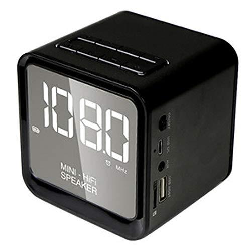 Cxcdxd Digitaler Wecker mit Bluetooth-Lautsprecher 5.0, drahtlosem tragbarem Stereolautsprecher, verstärktem Bass mit großem LED-Display, Unterstützung für FM-Radio, eingebautem Mikrofon,Black