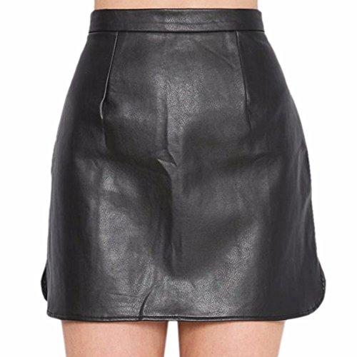 Tunika Reich Taille PU-Leder warmer Winter kurzen Mini sexy Rock mit Taschen Schwarz