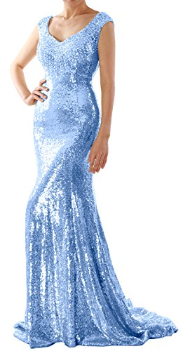 MACloth Women Mermaid Sequin Long Prom Dress Formal Evening Wedding Party Gown (Custom Made, Sky Blue) (Illusion Dress Blue)