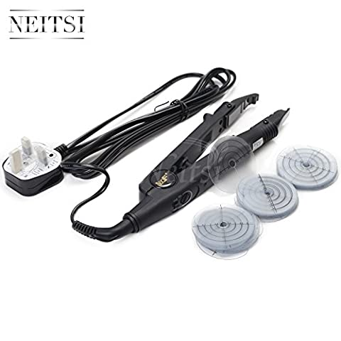 Neitsi UK PLUG Heat Connector Iron Fusion Pre Bonded Hair Extensions Iron Kit (Black# 03 with Heat Shield)