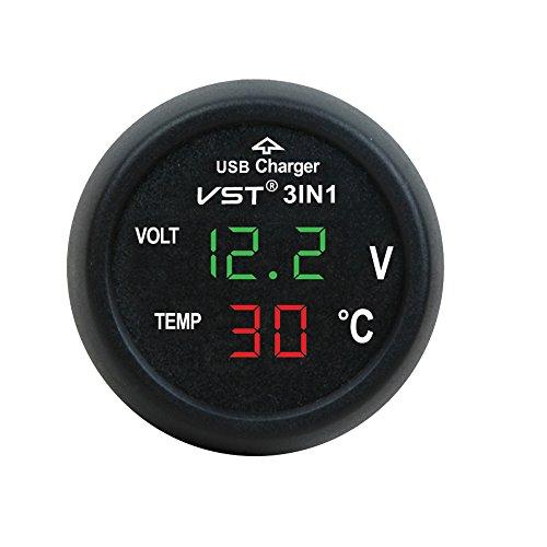 3in1 Auto Zigarettenanzünder mit USB-Anschluss Digital 12V/24V Voltmeter Thermometer Multi-Funktion KFZ Ladegerät (Grün + rot)