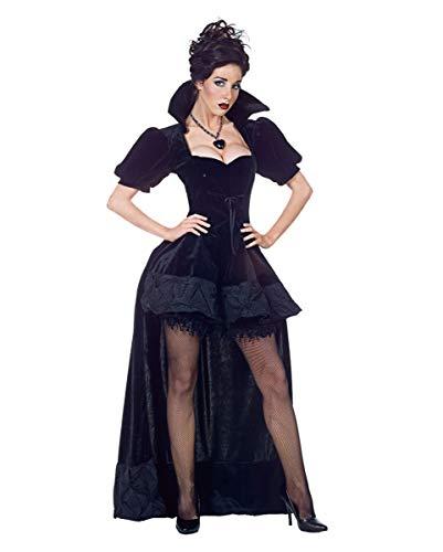 Horror-Shop Schwarze Königin Kostüm Premium mit Umhang für Halloween M