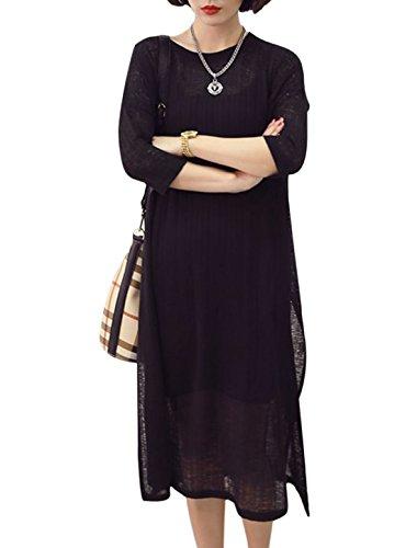 À La Mode Pour Femmes 3/4 Manche Fente Côté Droite Robe Tricot Noir
