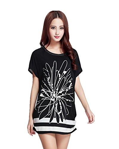 SaiDeng Femme Élégant Décontractée Imprimé Col Rond Manche Courte T-Shirt Chemisier Image 17