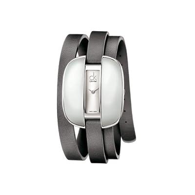 Calvin Klein K2E23620 - Reloj analógico de mujer de cuarzo con correa de piel gris de Calvin Klein