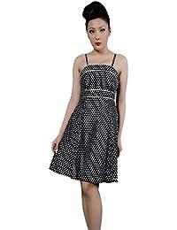 582beb171fa Robe Pin-Up Rétro 50 s Rockabilly Noir Pois Blanc pour femme - Pentagramme  - Miss