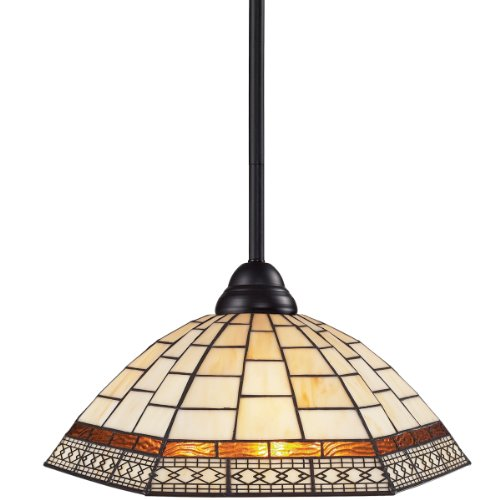 Tiffany Bronze-finish (Z-Lite 2114MP-BRZ-Z14-35 Riviera One Light Pendant, Steel Frame, Bronze Finish and Tiffany Shade of Glass Material by Z-Lite)