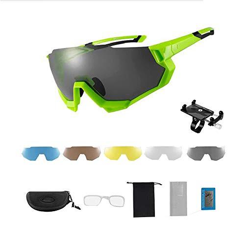 ZHLZH Radsportbrille/Radsportbrille Damen, Outdoor Sport Eyeswear Herren Damen MTB Rennrad Fahrrad Sonnenbrille Photochrom Radfahren Geben Sie einen soliden Handyhalter,Green