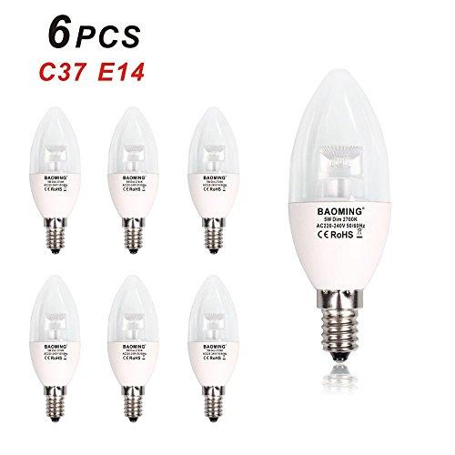 LED Lampe E14 5 watt Ersetzt 40w Lampe C37 Leuchtmittel Dimmbar warmweiß 2700K , 450 Lumen 220-240V , CRI80, Transparente Abdeckung , 6 Stück (40w Halogen-anhänger)