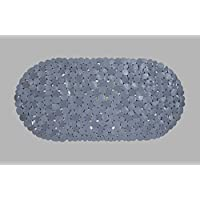 AQUALONA Bath Mat, Anti-Mould Non-Slip Bathtub Mat | Textured Surface, Suction Cups | Pebble Grey, 69 x 36cm