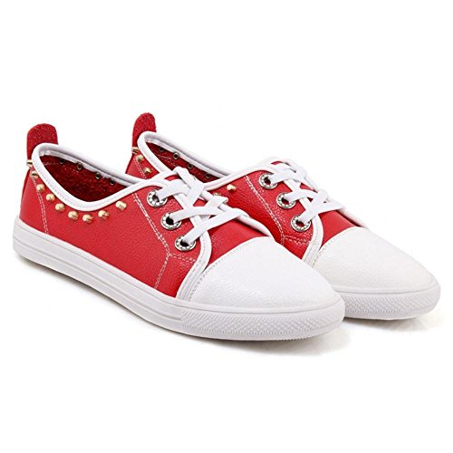 TAOFFEN Femmes Plates Espadrilles Escarpins Chaussures red