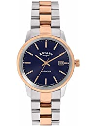 Rotary Women's Quartz Watch with Blue Dial Analogue Display and Rose Gold Stainless Steel Bracelet LB02737/05