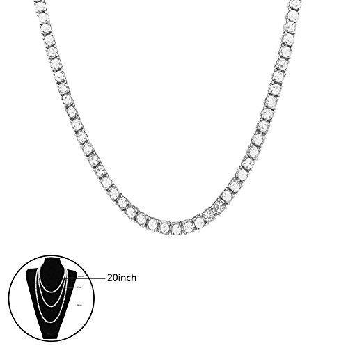 Halskette Hip Hop Kristall Strass Künstliche Diamant 1 Zeile Cuban vergoldet Link Kette Halskette Cosplay Party Verkleiden für Männer und Frauen Sillber,20inch
