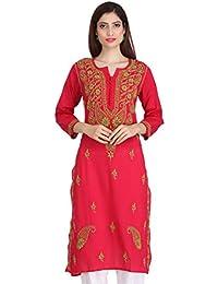 e76c2cbd63 ADA Handicraft Lucknow Chikan Womens Cotton Kurti Dress Regular Wear A223842