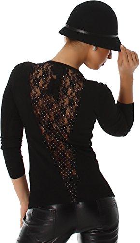 Jela London Pullover Longsleeve Sweatshirt dünn Spitze Strass Netz Rücken-Dekolleté Schleife, Schwarz