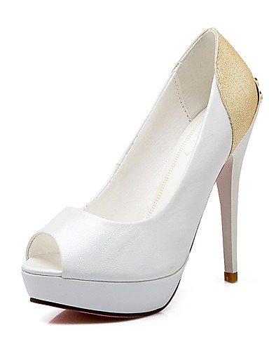 WSS 2016 Chaussures Femme-Habillé / Décontracté-Noir / Rouge / Blanc-Talon Aiguille-Talons / Bout Ouvert / A Plateau-Talons-Similicuir white-us4-4.5 / eu34 / uk2-2.5 / cn33