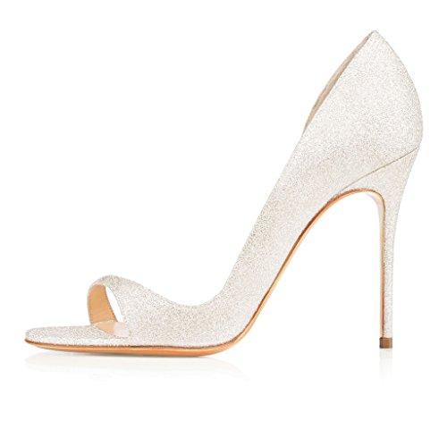 EDEFS Damen Peep Toe High Heels Pumps Übergröße Cut-outs Pailleten Schuhe Glitzern Größe EU39