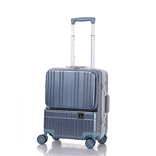 LNNUKc Koffer Rollkoffer Kurzstrecken-Kästchen-Aluminiumrahmen-Computer-Kasten-Front-Computer-Beutel 18 Zoll-vorzügliches Geschäfts-Kennwort-Kasten,Luggage (Farbe : Grau) - Moderne Computer-kästen