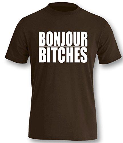 Luckja Bonjour Bitches Herren T-Shirt Braun-Weiss Grösse L