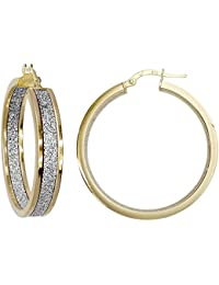 Jewelco London Ladies 9ct Yellow Gold MoonDust StarDust Double Sided Hoop Earrings 30mm