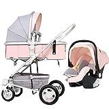 Meen Passeggino Pieghevole, Seduta Reclinabile Pieghevole Ammortizzatore Passeggino Carrello Leggero per Bambini (Colore : Pink)