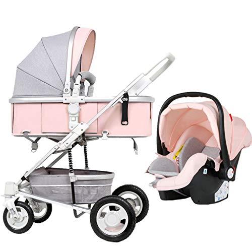 Meen Folding Stroller, Sitting Reclining Folding Shock Absorber Stroller High Landscape Lightweight Children's Trolley (Color : Pink)  Meen