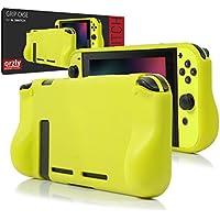 Funda Orzly Comfort Grip Case para la Nintendo Switch – Carcasa protectora con puños de mano rellenos integrados para la parte posterior de la consola Nintendo Switch en su Modo GamePad - AMARILLO FLUORESCENTE