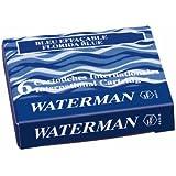 Waterman - Cartuchos de tinta para pluma estilográfica (6 unidades, tamaño estándar), color azul
