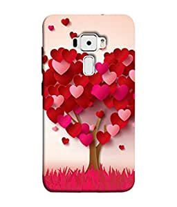 PrintVisa Designer Back Case Cover for Asus Zenfone 3 ZE552KL (5 Inches) (The Heart Tree In Cute Pink Colour)