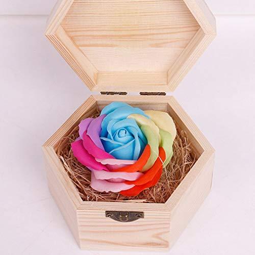 Schöne Seife (DERNON Weiche Oberfläche handgemachte Holzschnitzerei Box schöne Seife Blumen Rose Geschenkbox Noctilucan)