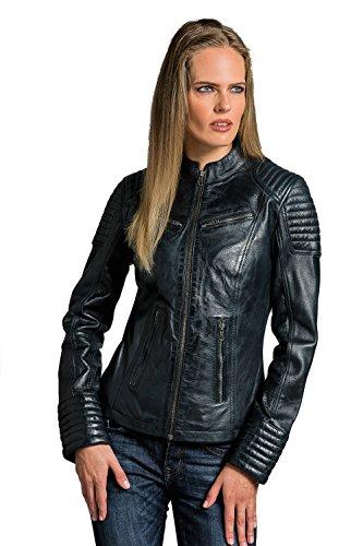 Urban Leather Corto Biker - Chaqueta de piel, Mujer, azul, 4XL