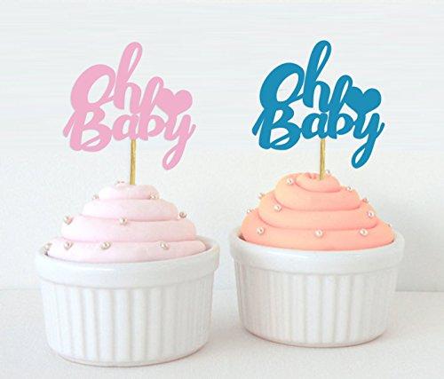 Darling Souvenir, Oh Baby Gender Reveal Cupcake Toppers, Junge oder Mädchen Baby Dusche Dessert Dekorationen - Pack von 20