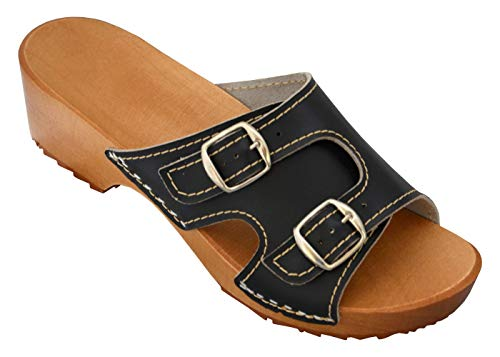 Holzpantoletten für Damen Clogs Schuhe mit Absatz Holz Sandalette Leder Clogs Pantolette (37, Schwarz) -