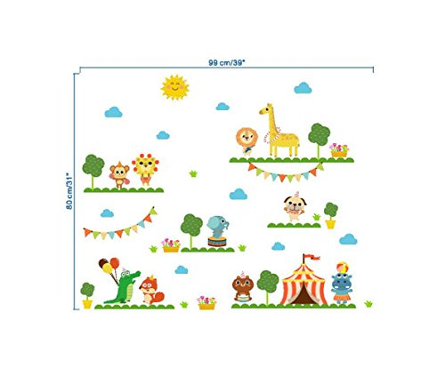 Madaye Cartoon giraffe zoo kindergarten layout decoration wall stickers (Halloween Wallpaper Disney)