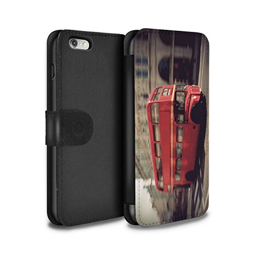 Stuff4 Coque/Etui/Housse Cuir PU Case/Cover pour Apple iPhone 4/4S / Red Phone Box Design / Londres Angleterre Collection Rouge Bus