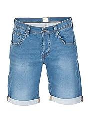 MUSTANG Herren Jeans Sweat Short Chicago Kurze Stretch Hose Real X Regular Fit - Blau - Grau, Größe:W 38, Farbe:Light Blue (312)
